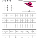 Letter H Writing Practice Worksheet - Free Kindergarten with Tracing Letter H Worksheets Preschoolers