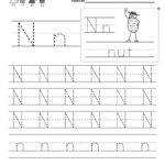 Letter N Writing Practice Worksheet - Free Kindergarten inside Tracing Letter N Worksheets