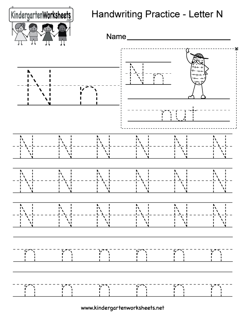 Letter N Writing Practice Worksheet - Free Kindergarten inside Tracing Letter N Worksheets