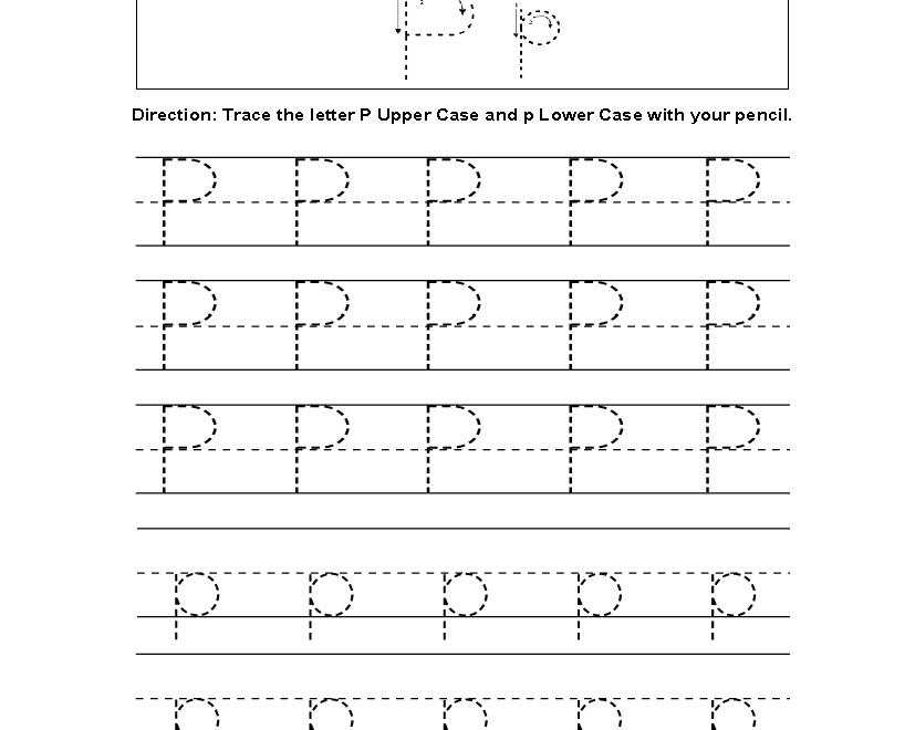 Letter P Tracing Alphabet Worksheets | Alphabet Worksheets for Interactive Tracing Letters Online
