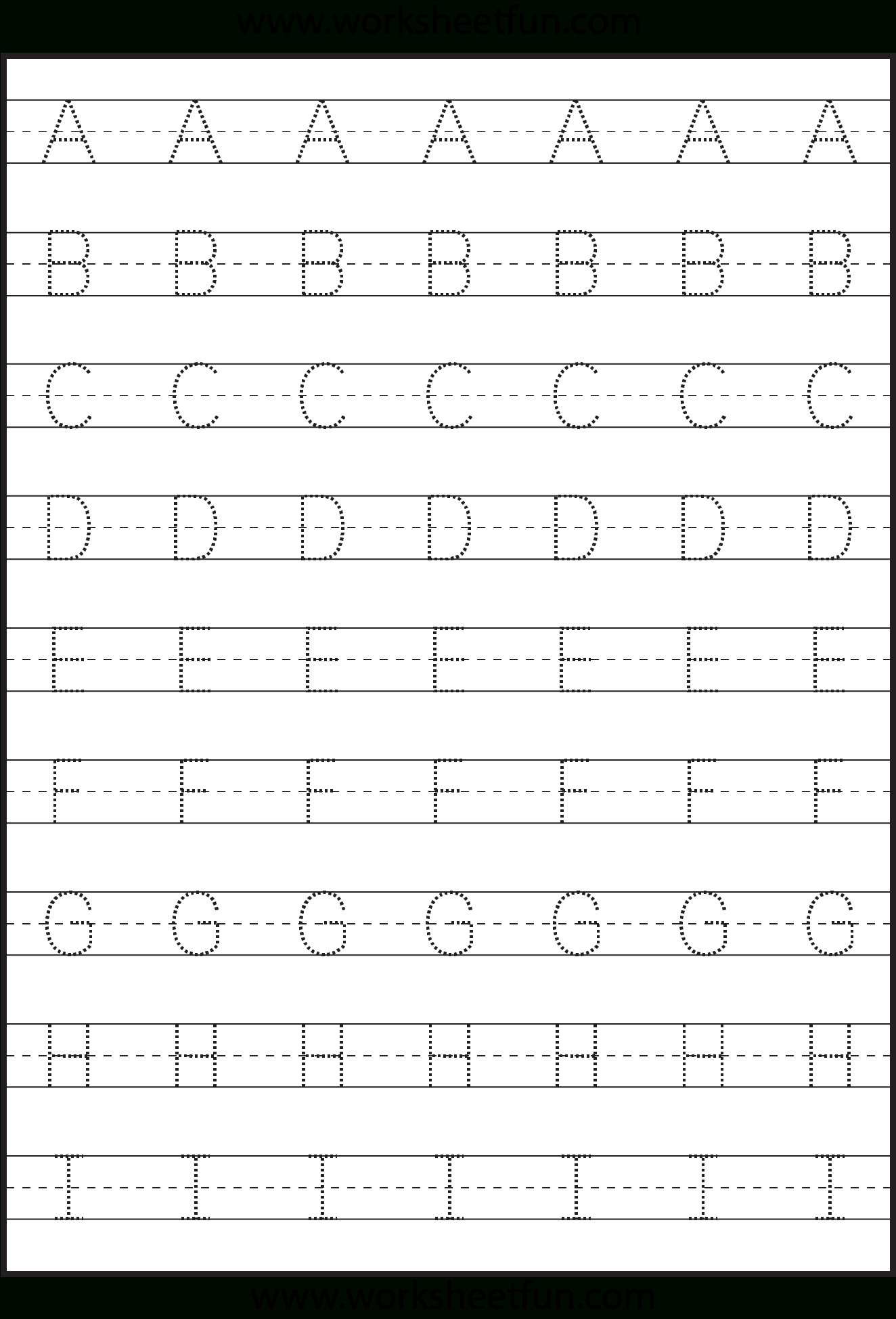 Letter Tracing - 3 Worksheets | Kids Math Worksheets in Tracing Letters Worksheets Kindergarten