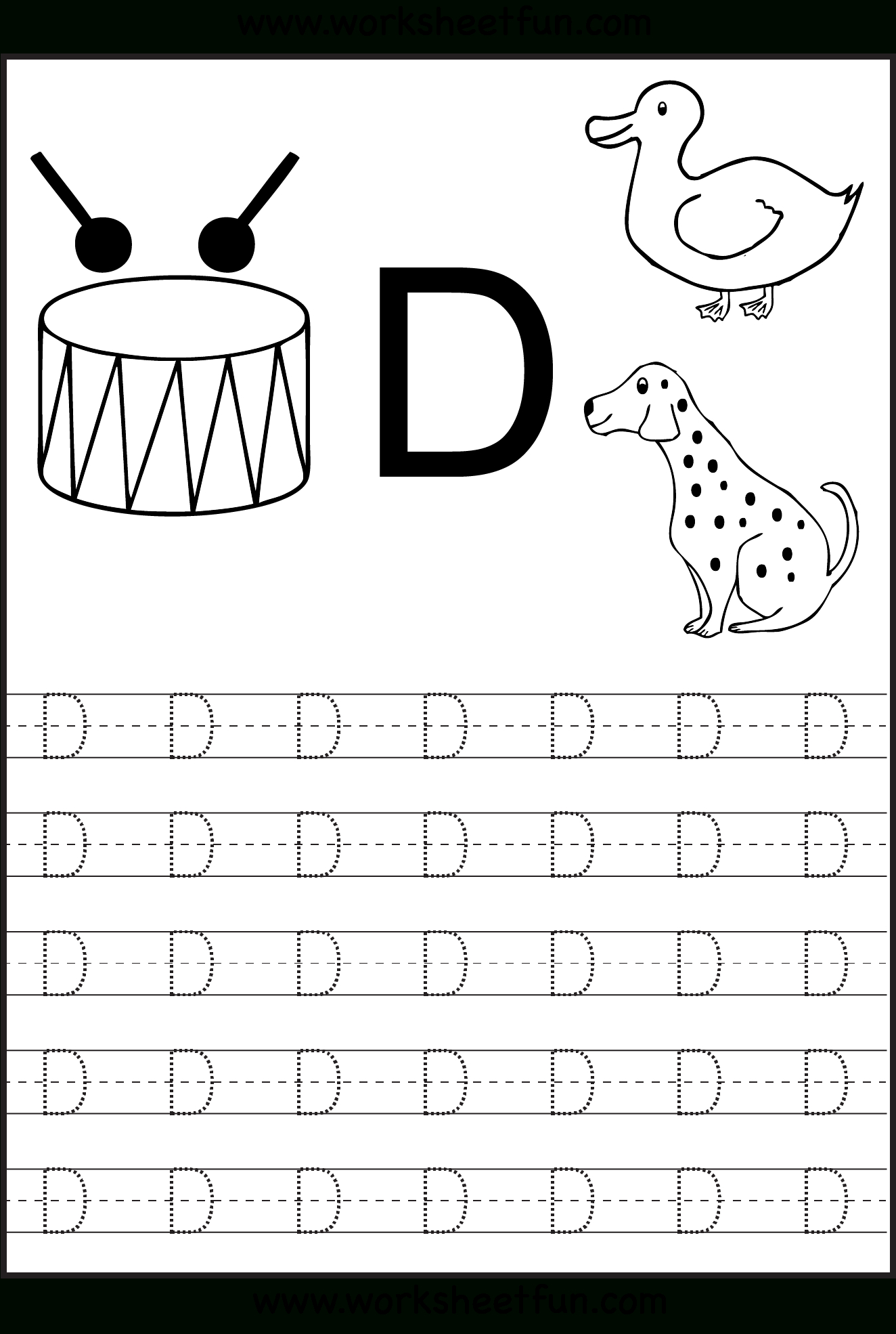 Letter Tracing | Alphabet Worksheets, Letter D Worksheet inside Trace Letter D Worksheets Preschool