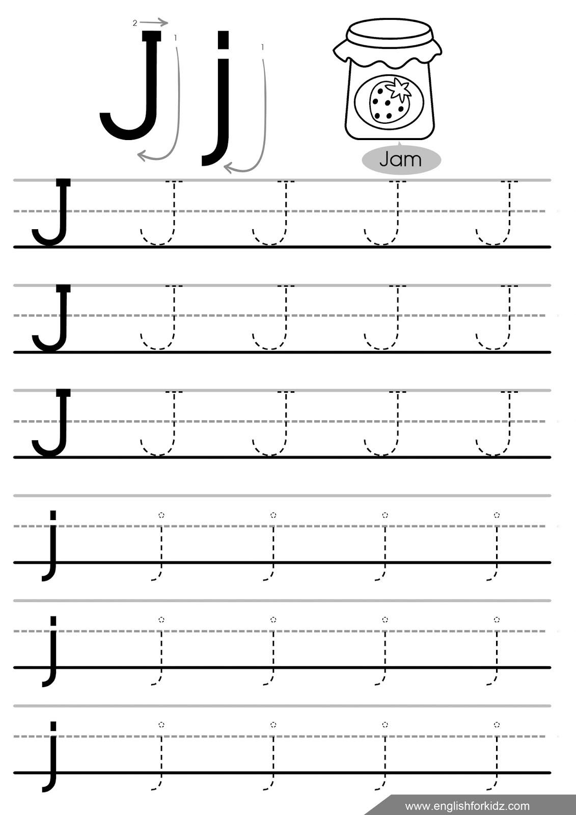 Letter Tracing Worksheets (Letters A - J) for I Letter Tracing Worksheet