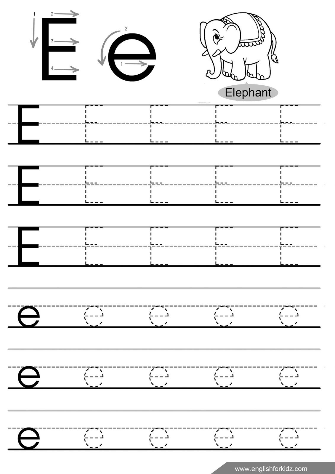 Letter Tracing Worksheets Letters A J | Letter Tracing with E Letter Tracing Worksheet