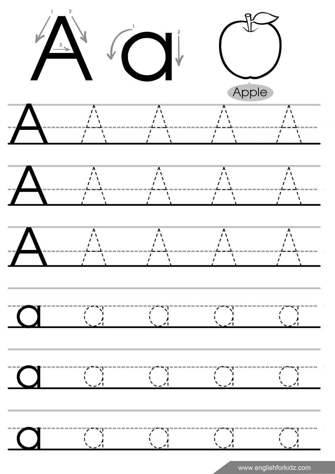 Letter Tracing Worksheets (Letters A - J) within Tracing English Letters