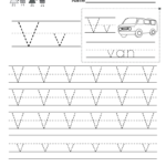 Letter V Handwriting Worksheet For Kindergarteners. You Can within Tracing Letters Handwriting Worksheets