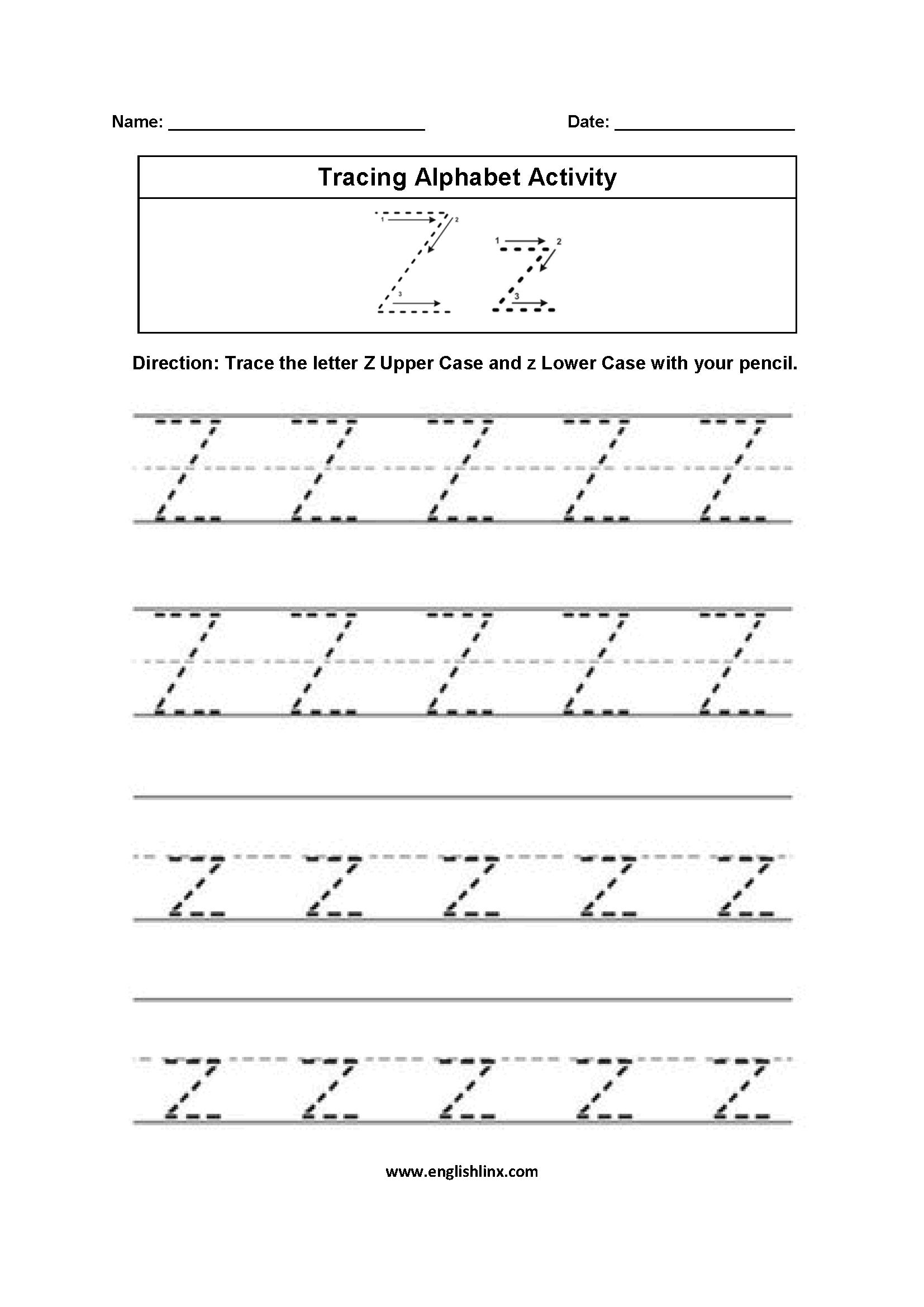 Letter Z Tracing Alphabet Worksheets | Alphabet Worksheets with Tracing Letters A To Z