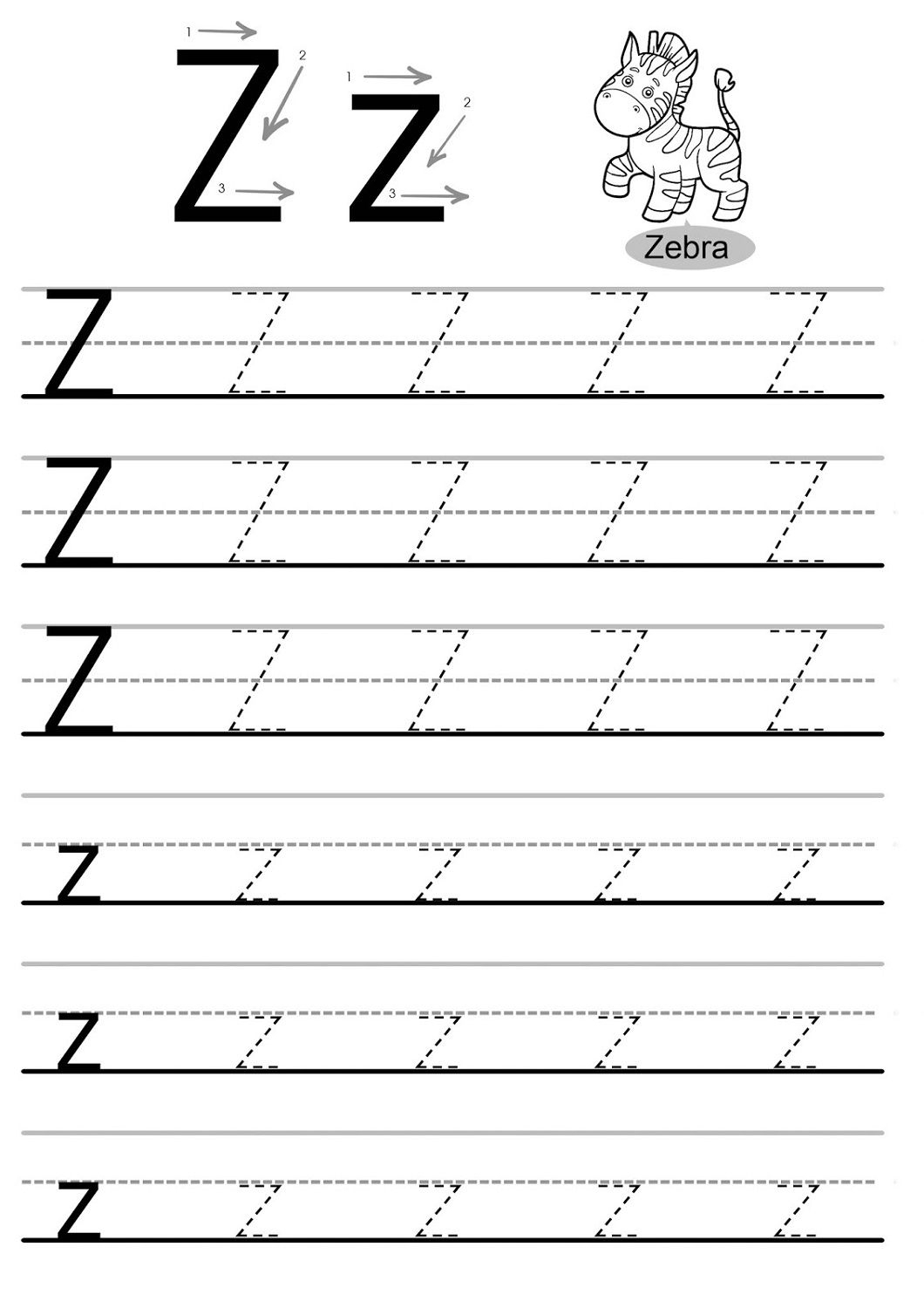 Letter Z Worksheets - Kids Learning Activity | Handwriting regarding A To Z Tracing Letters