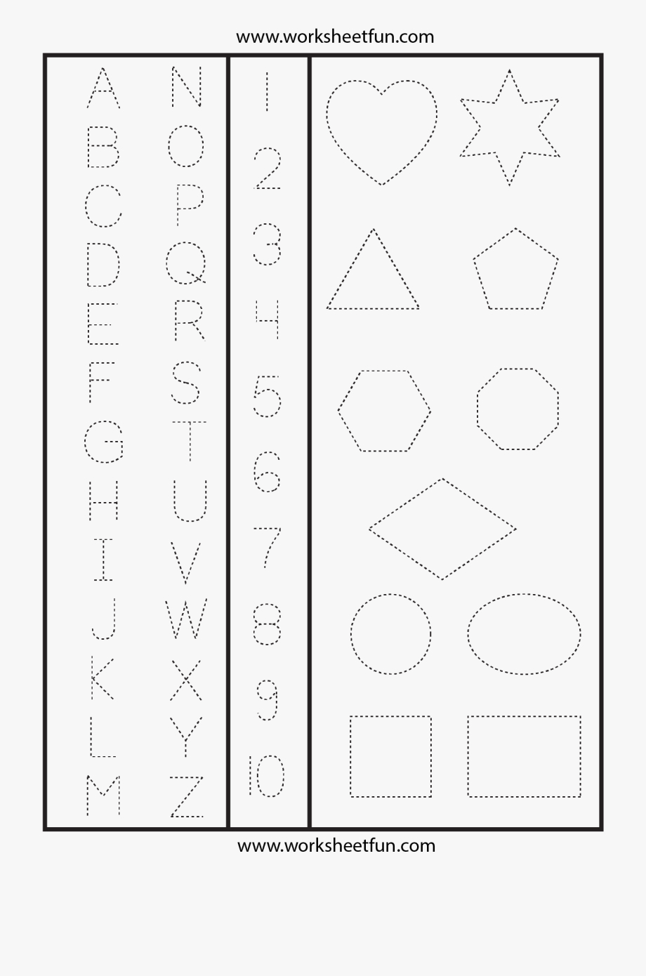 Letters Numbers & Shapes Tracing Worksheet - Printable Trace with Tracing Letters And Numbers