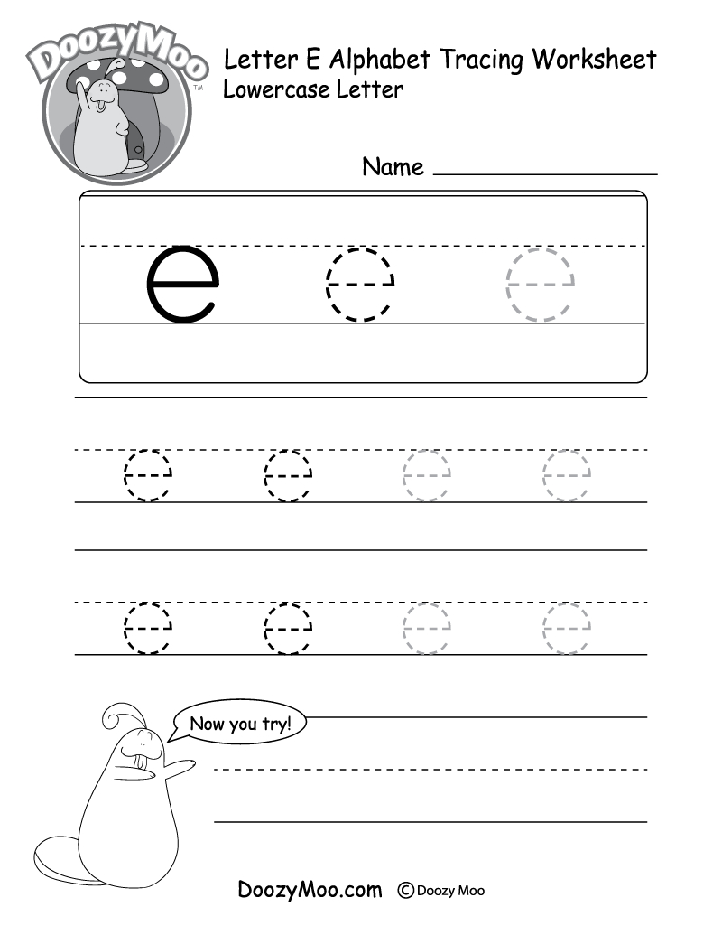 "Lowercase Letter ""e"" Tracing Worksheet - Doozy Moo intended for Letter Tracing Worksheets For Adults"
