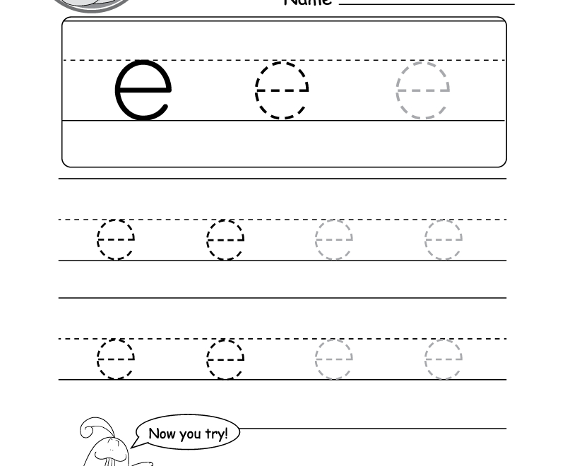 "Lowercase Letter ""e"" Tracing Worksheet - Doozy Moo within Lower Case Letters Tracing Sheets"