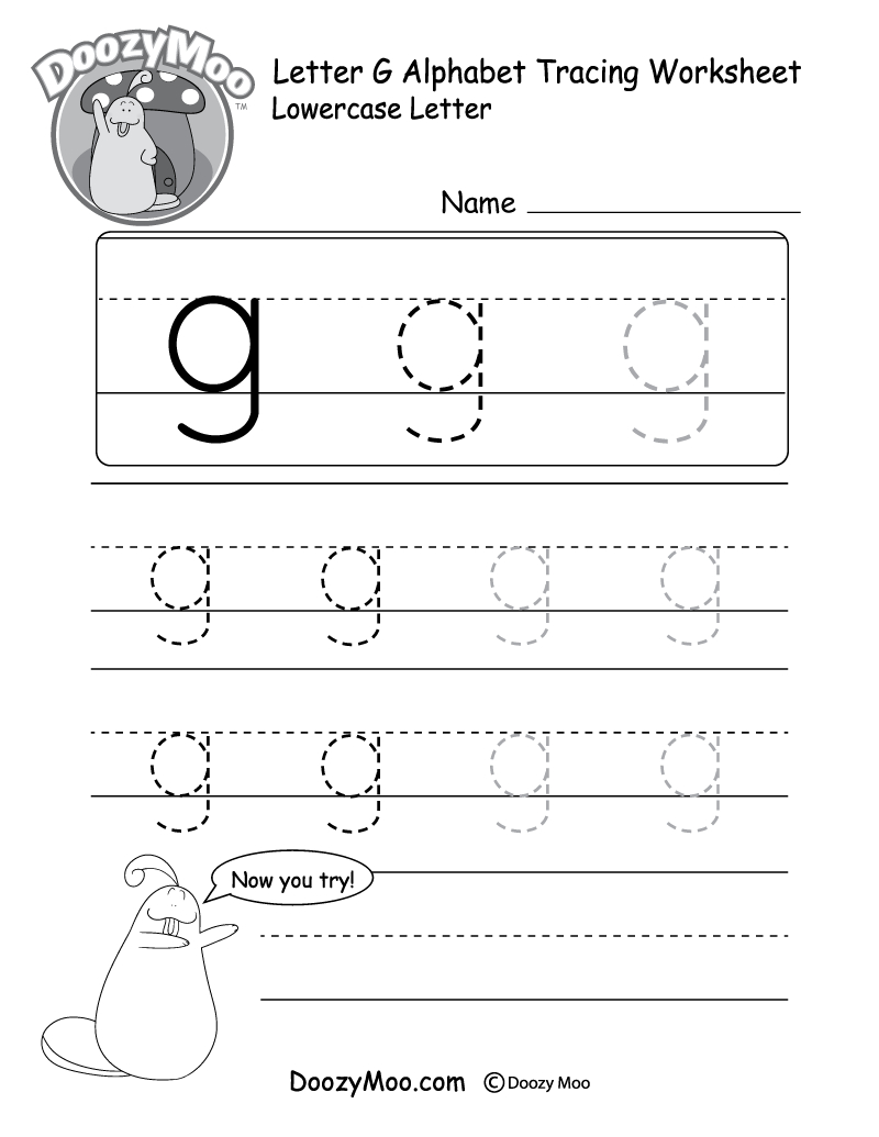 "Lowercase Letter ""g"" Tracing Worksheet - Doozy Moo for G Letter Tracing Worksheet"