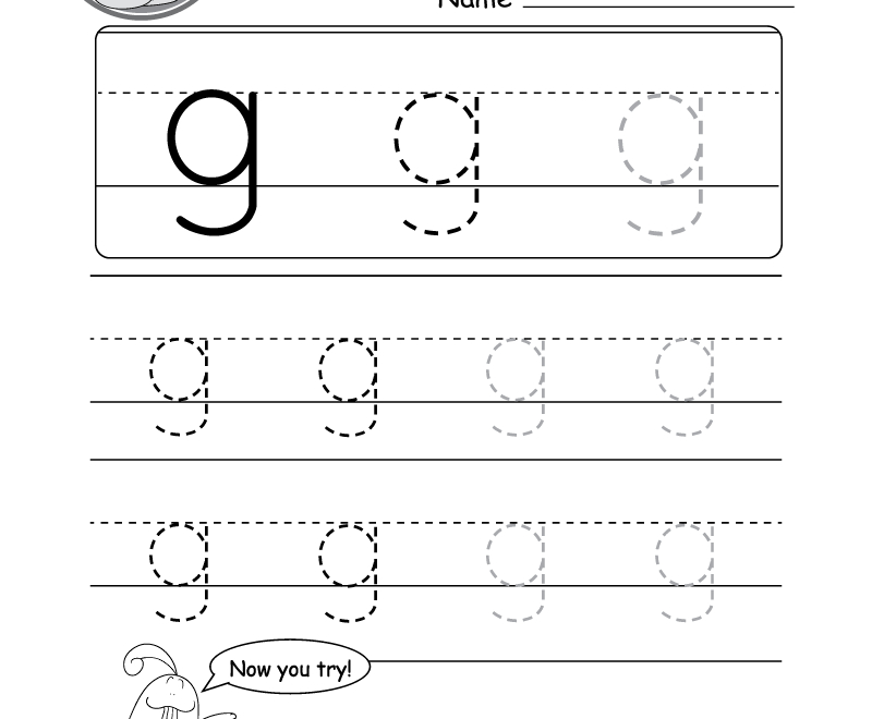 "Lowercase Letter ""g"" Tracing Worksheet - Doozy Moo with regard to Tracing Small Letter G Worksheet"