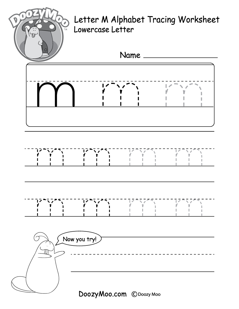 "Lowercase Letter ""m"" Tracing Worksheet - Doozy Moo within Tracing Letter M Worksheets Kindergarten"