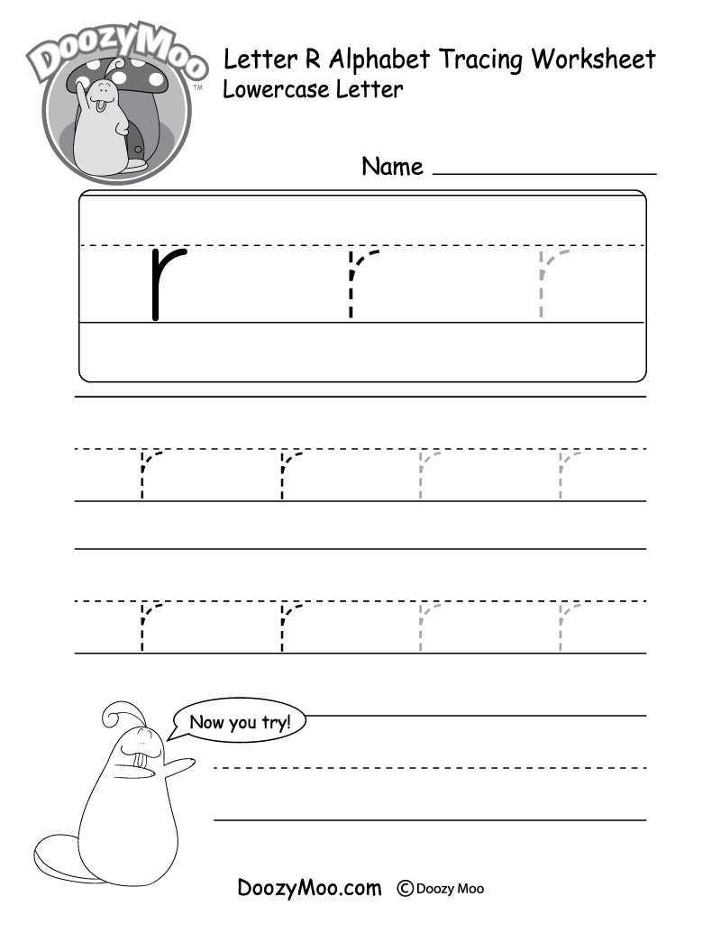 """Lowercase Letter """"r"""" Tracing Worksheet - Doozy Moo with Making Tracing Letters Worksheets"""