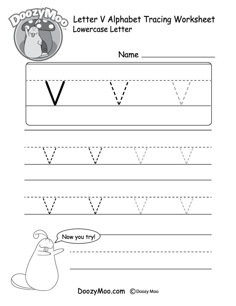 "Lowercase Letter ""v"" Tracing Worksheet - Doozy Moo for Tracing Letter V Worksheets"
