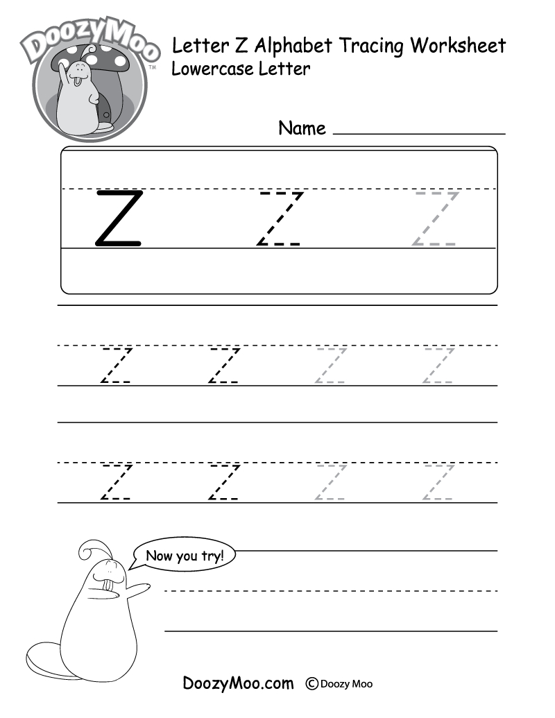"Lowercase Letter ""z"" Tracing Worksheet - Doozy Moo within Tracing Letter Z Worksheets"