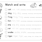 Matching, Letter Tracing, Writing - Animals - English Esl with Letter Tracing Writing Worksheet
