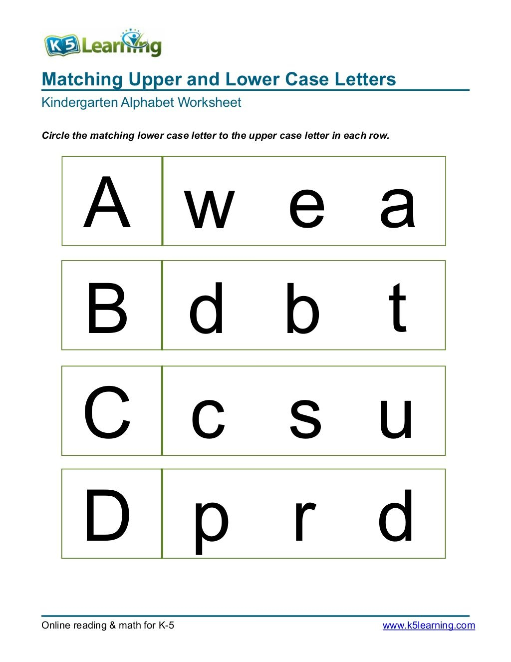 Matching Upper And Lower Case Letters Kindergarten Alphabet for Free Online Tracing Letters