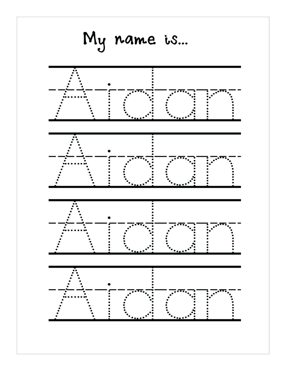 Name Trace Worksheet – Pointeuniform.club intended for Letter Tracing Worksheets Custom