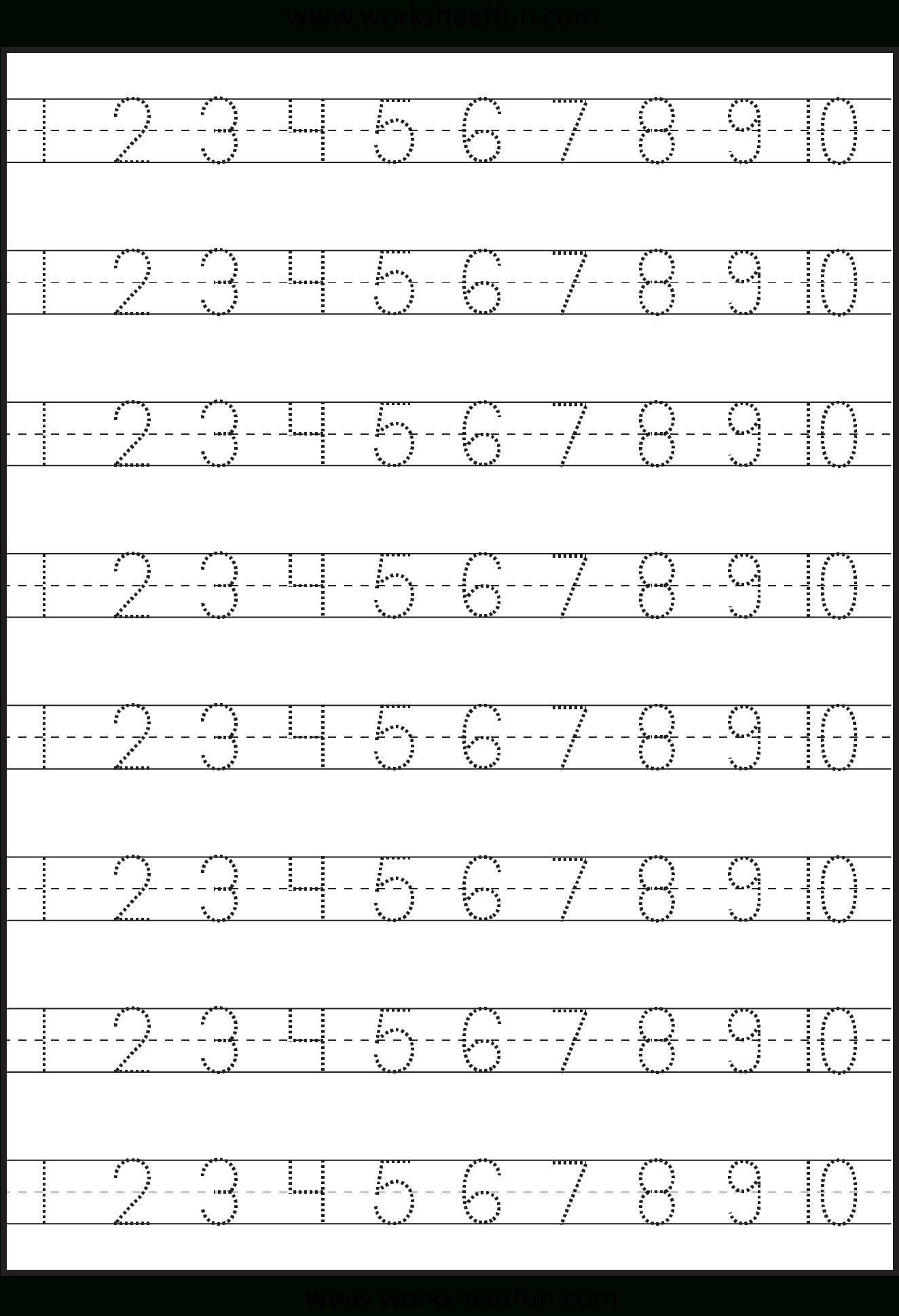 Number Tracing 1-10 - Worksheet | Kindergarten Worksheets pertaining to Free Tracing Letters And Numbers For Preschoolers