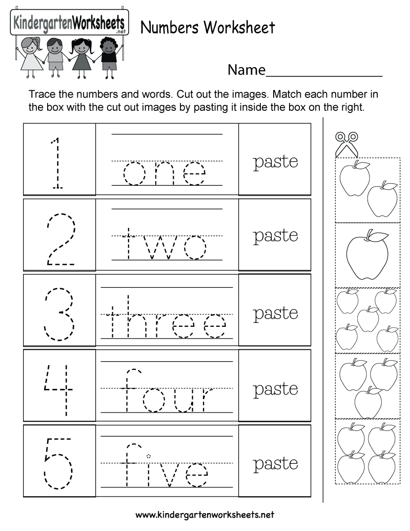 Numbers Printable Worksheets Kids Free Worksheet For throughout Free Kindergarten Worksheets Tracing Letters