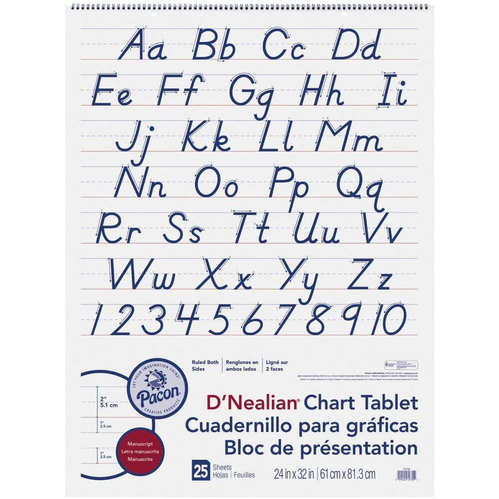 Pacon D'nealian Manuscript Chart Tablet, 24 X 32 Inches, 2 throughout D'nealian Letter Tracing Worksheets