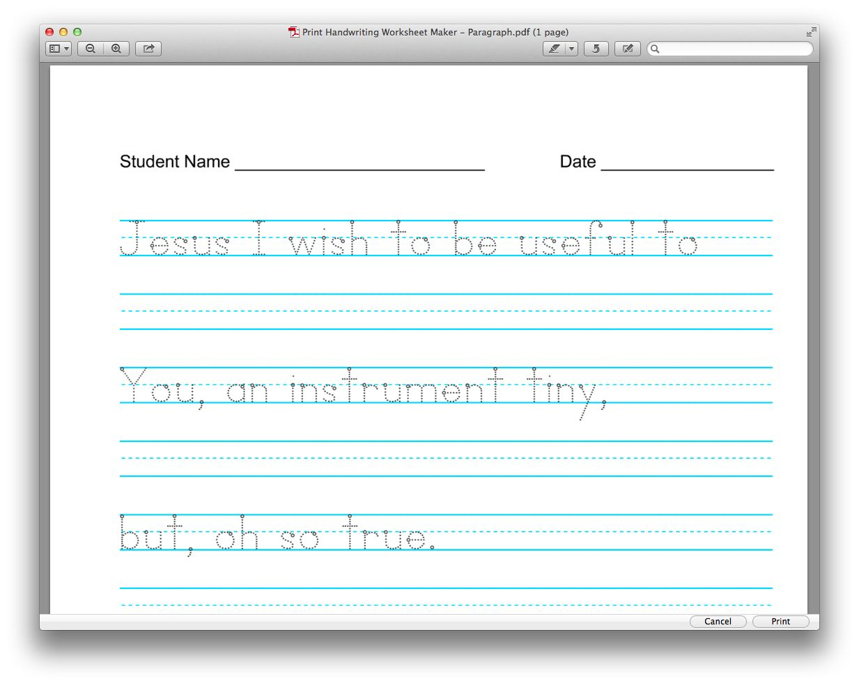 Personalize Your Own Copy Work For Free, Verses, Poems in Letter Tracing Worksheet Creator