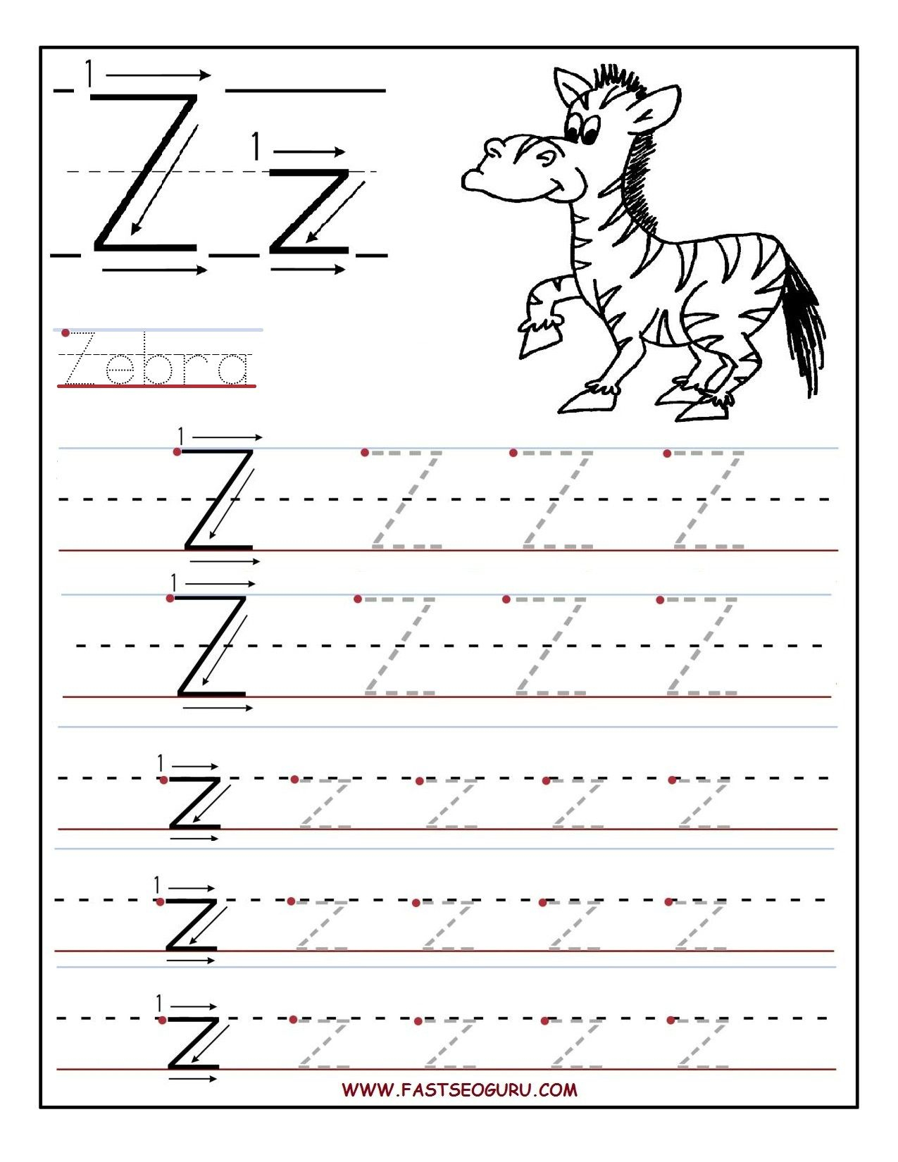 Pinvilfran Gason On Decor | Letter Tracing Worksheets pertaining to Tracing Letter Z Worksheets