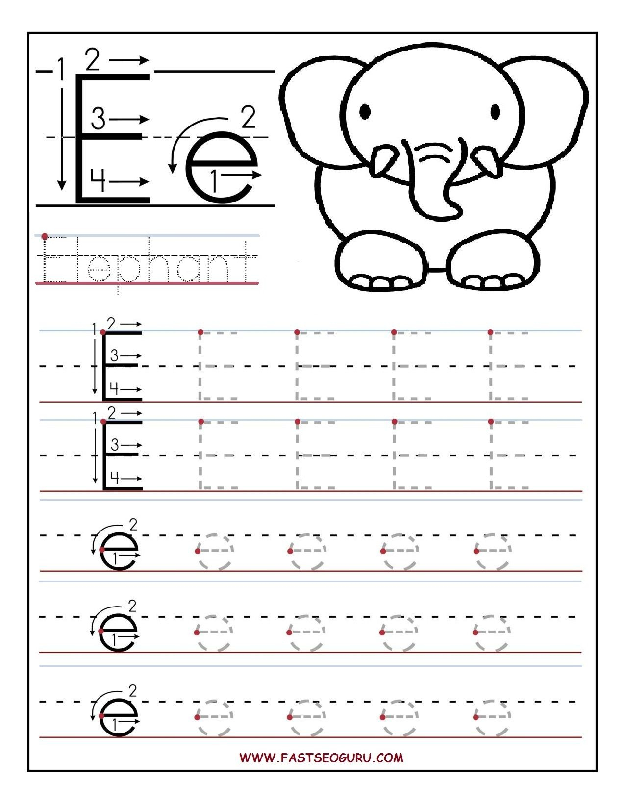 Letter E Tracing Worksheets | TracingLettersWorksheets.com