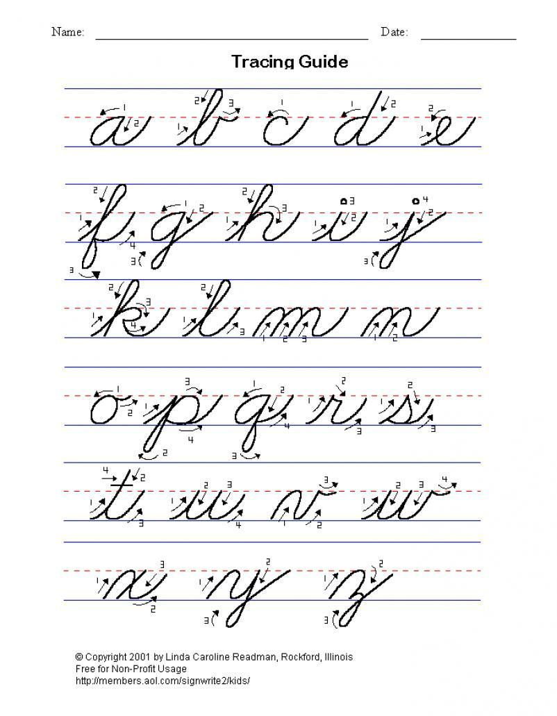 Practice-Cursive-Writing-The-Alphabet Lower And Upper Case inside Cursive Letters Tracing Guide