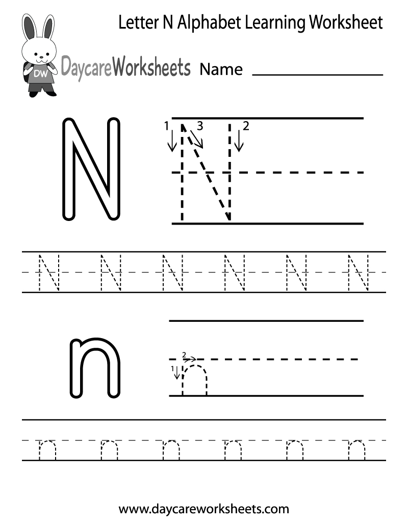 Preschoolers Can Color In The Letter N And Then Trace It in Tracing Letter N Worksheets For Preschool
