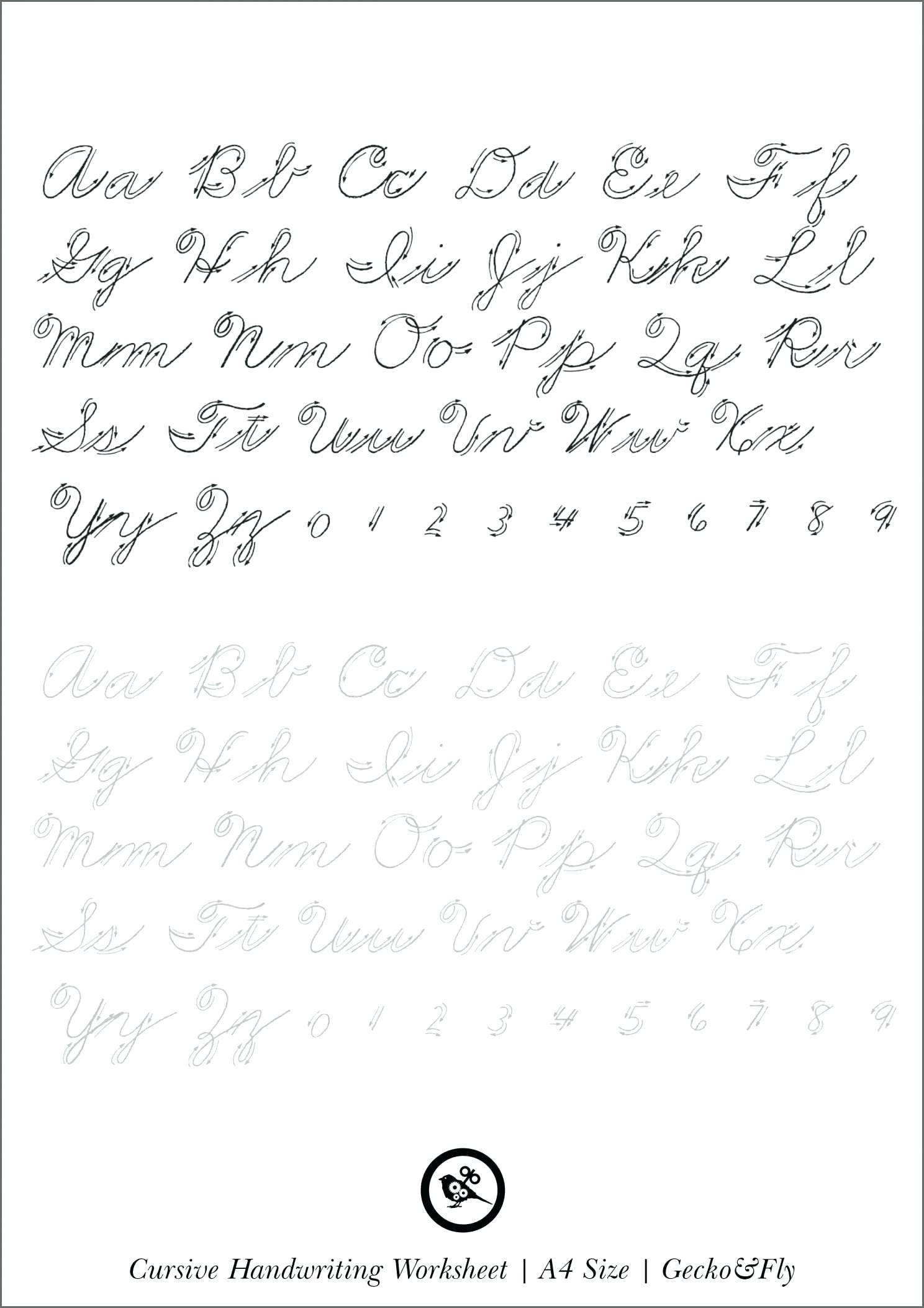 Printable Cursive Handwriting 5 Printable Cursive in Tracing Letters Worksheets Generator
