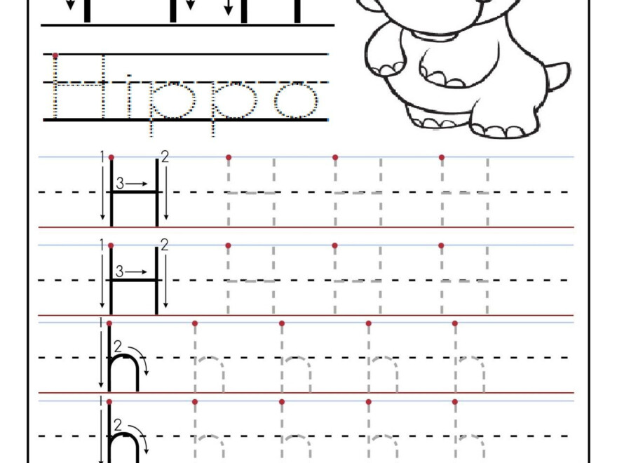 Printable Letter H Tracing Worksheets For Preschool in Tracing Letter H Worksheets Preschoolers