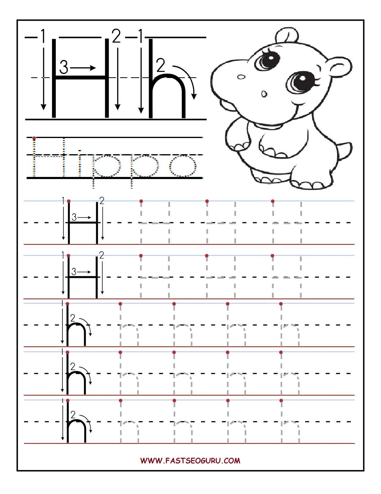 Printable Letter H Tracing Worksheets For Preschool intended for Tracing Letter H Worksheets