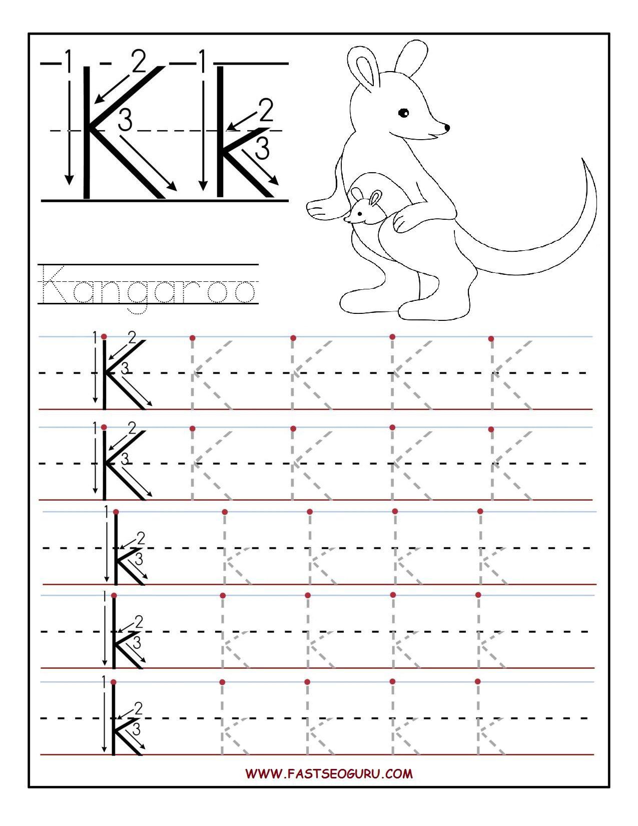 Printable Letter K Tracing Worksheets For Preschool | Letter intended for Tracing Letter K Worksheets
