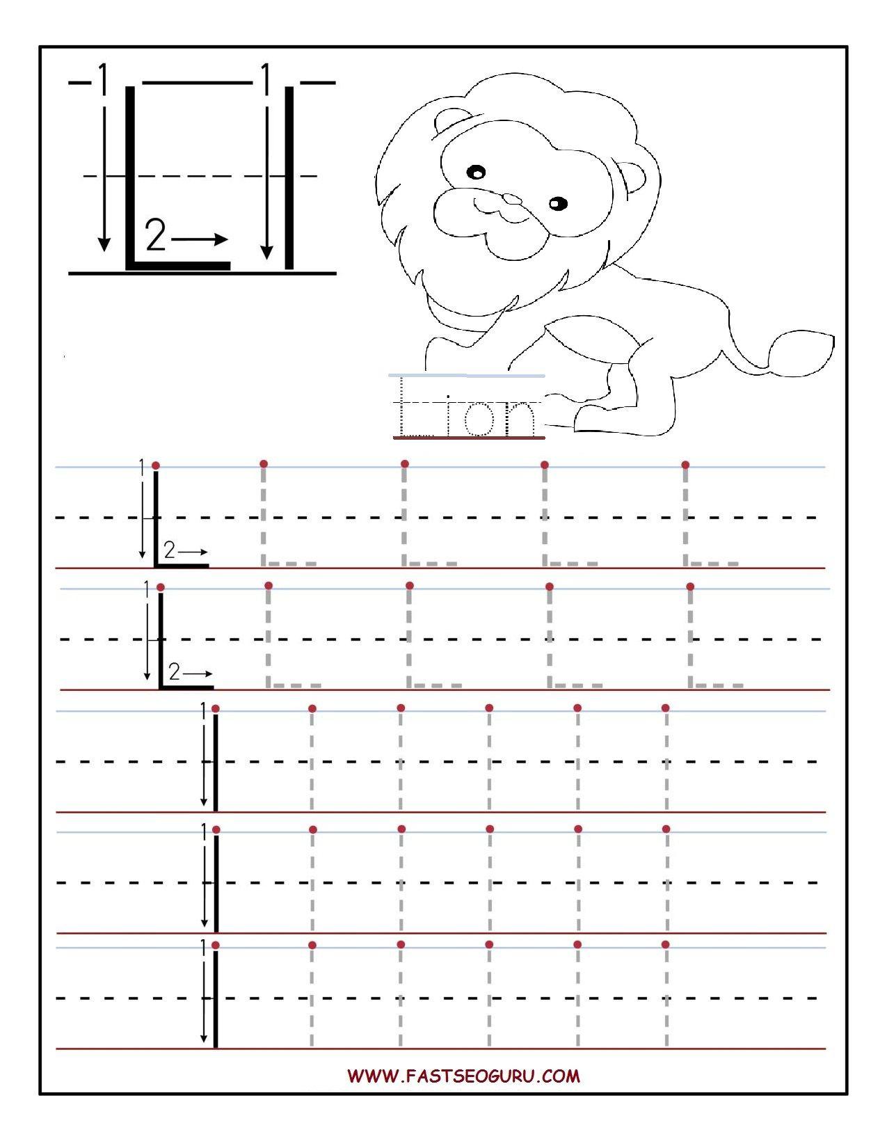 Printable Letter L Tracing Worksheets For Preschool inside Large Tracing Letters For Preschoolers