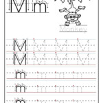 Printable Letter M Tracing Worksheets For Preschool for Trace Letters Worksheet For Grade 1