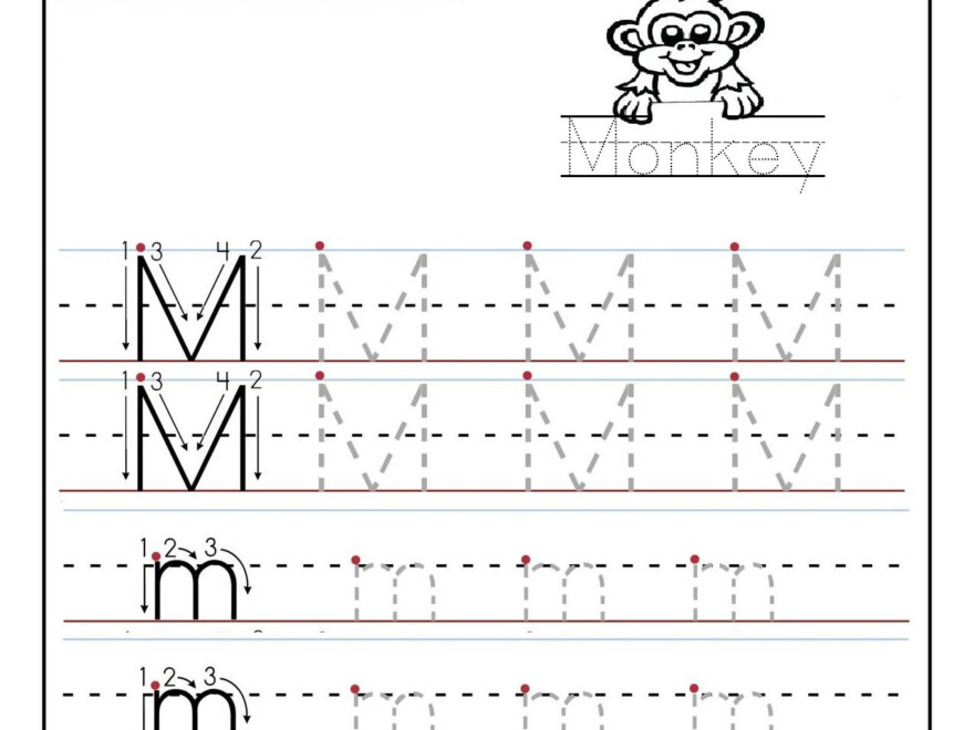 Printable Letter M Tracing Worksheets For Preschool in Tracing Letter M Worksheets Kindergarten