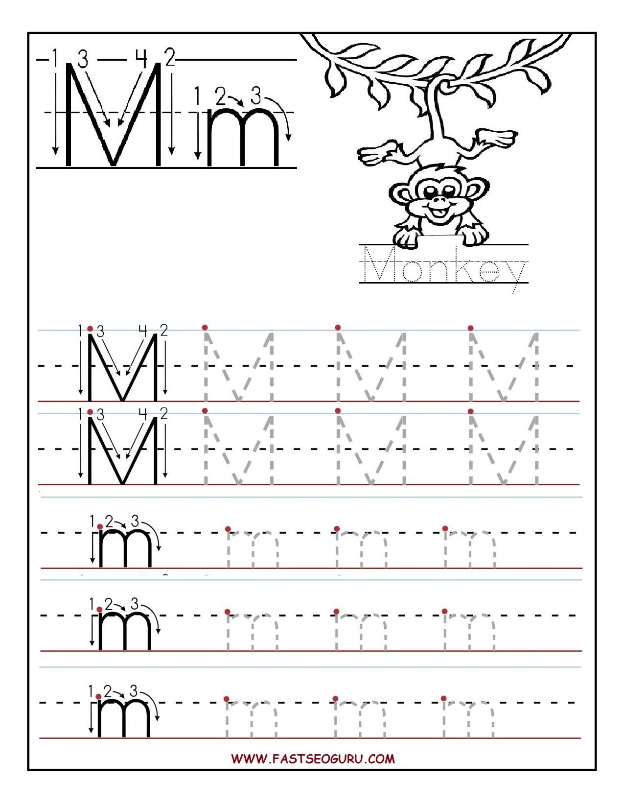 Printable Letter M Tracing Worksheets For Preschool with Printable Preschool Worksheets Tracing Letters