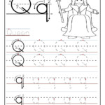 Printable Letter Q Tracing Worksheets For Preschool in Action Alphabet Tracing Letters
