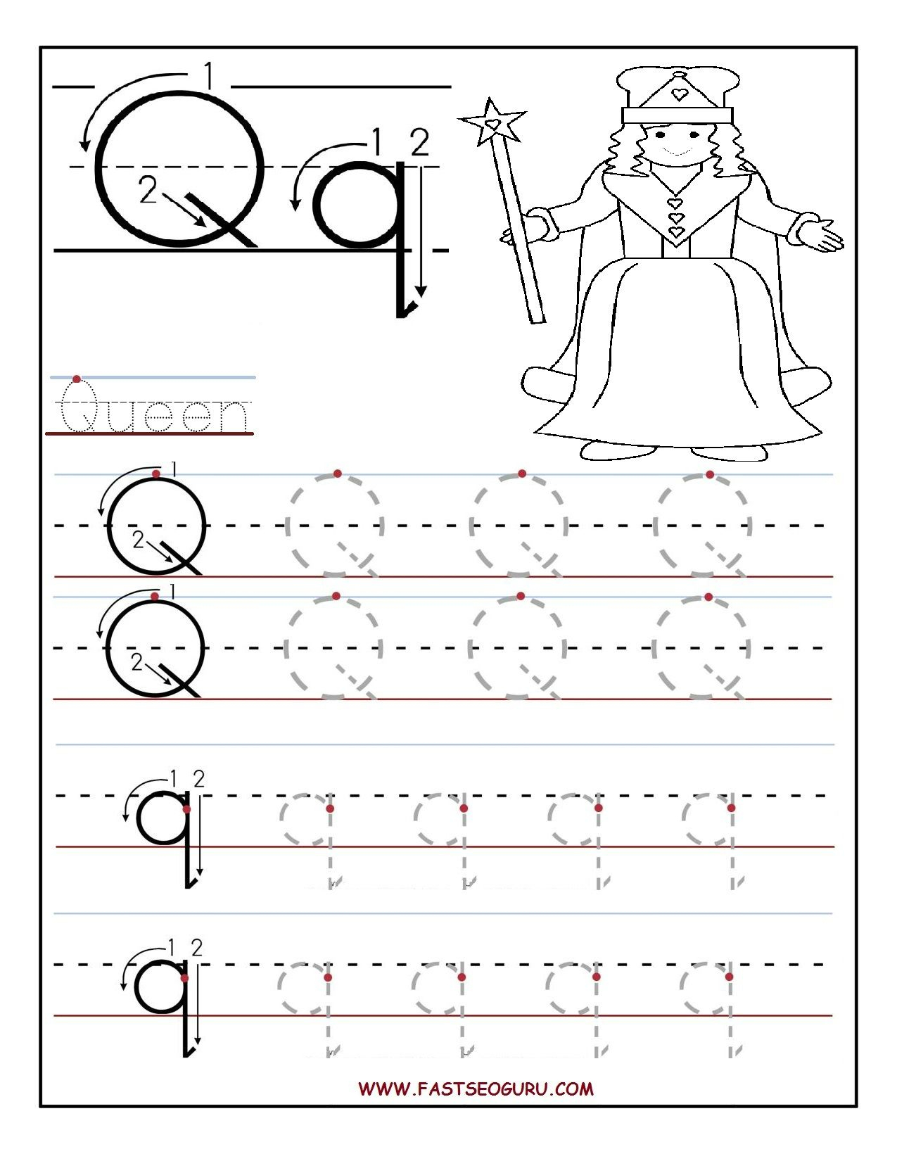 Printable Letter Q Tracing Worksheets For Preschool inside Tracing Letter Q Worksheets