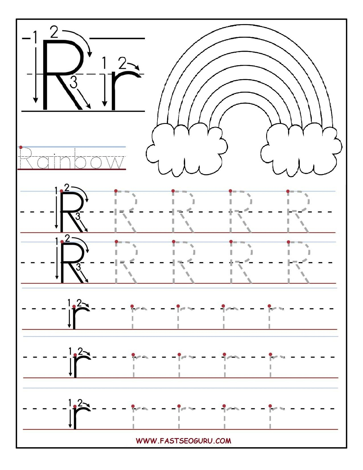 Printable Letter R Tracing Worksheets For Preschool for Letter Tracing Worksheets Toddlers