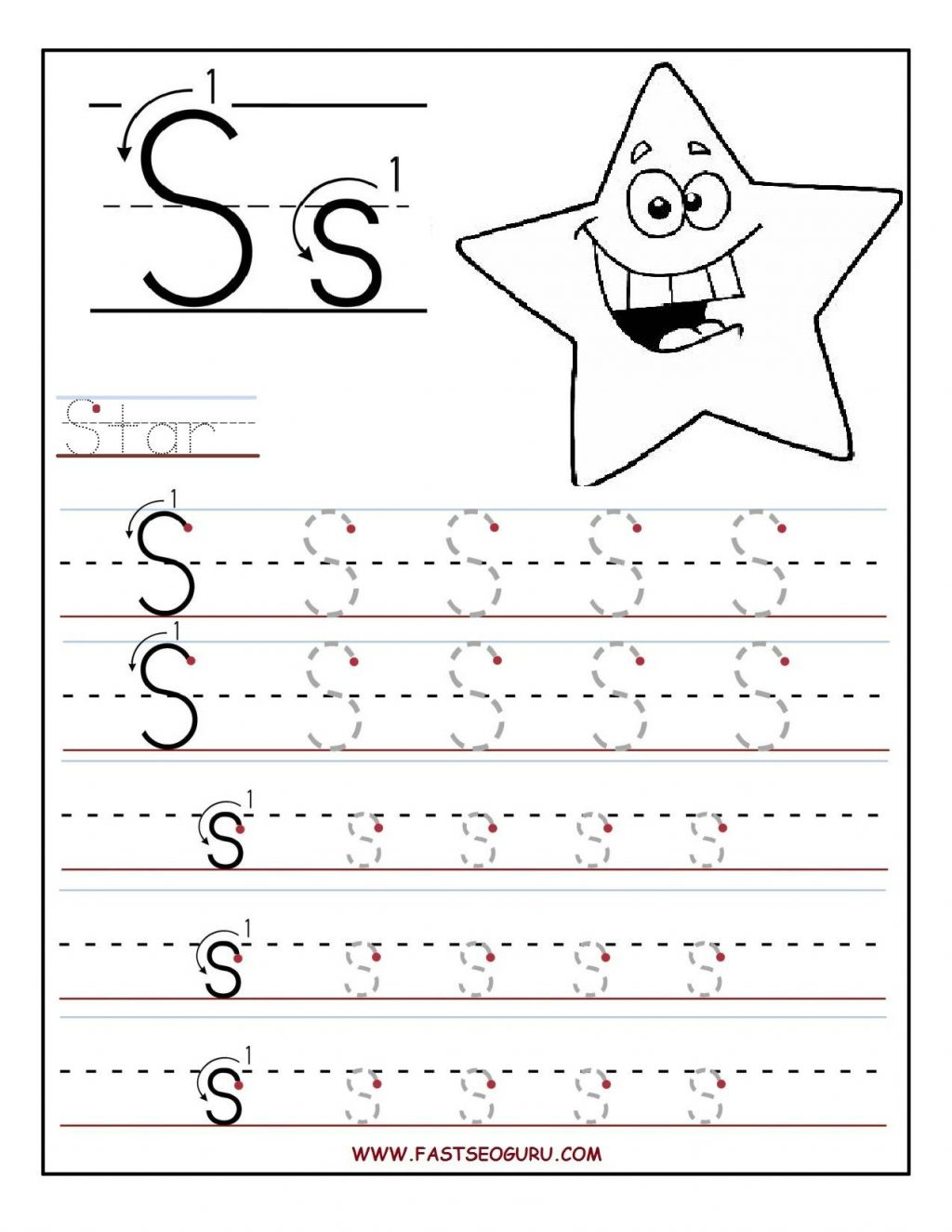 Printable Letter S Tracing Worksheets For Preschool Free within Tracing Letters Child's Name