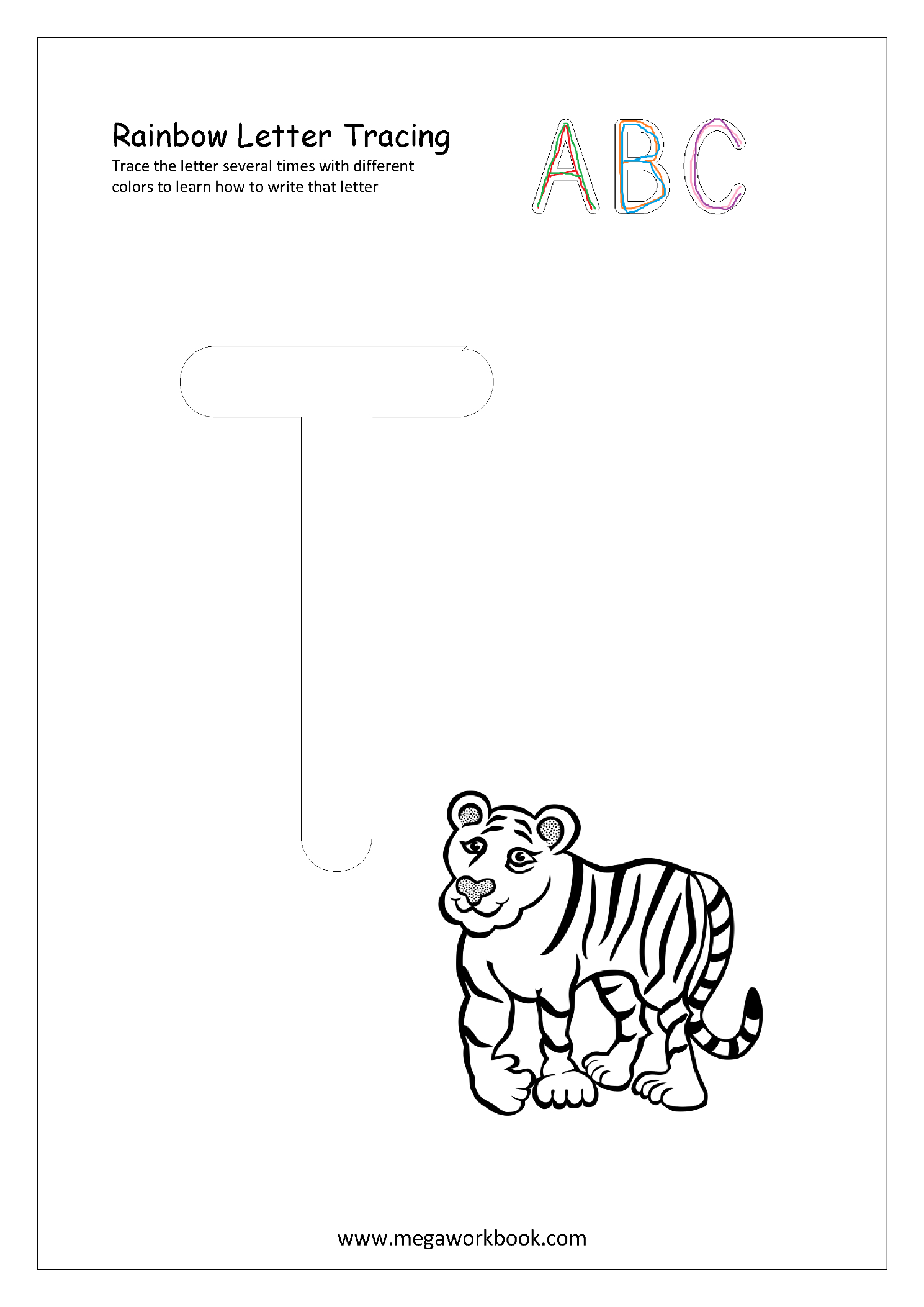 Rainbow Letter Tracing For Capital Letters - Alphabet regarding Rainbow Tracing Letters