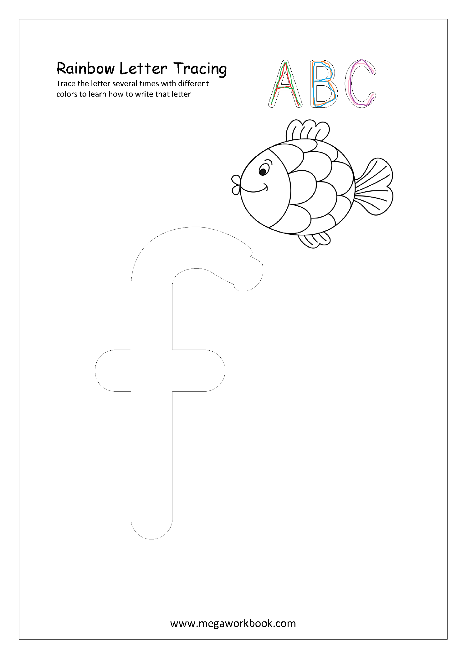 Rainbow Letter Tracing - Small Letters - F (Alphabet intended for Rainbow Tracing Letters