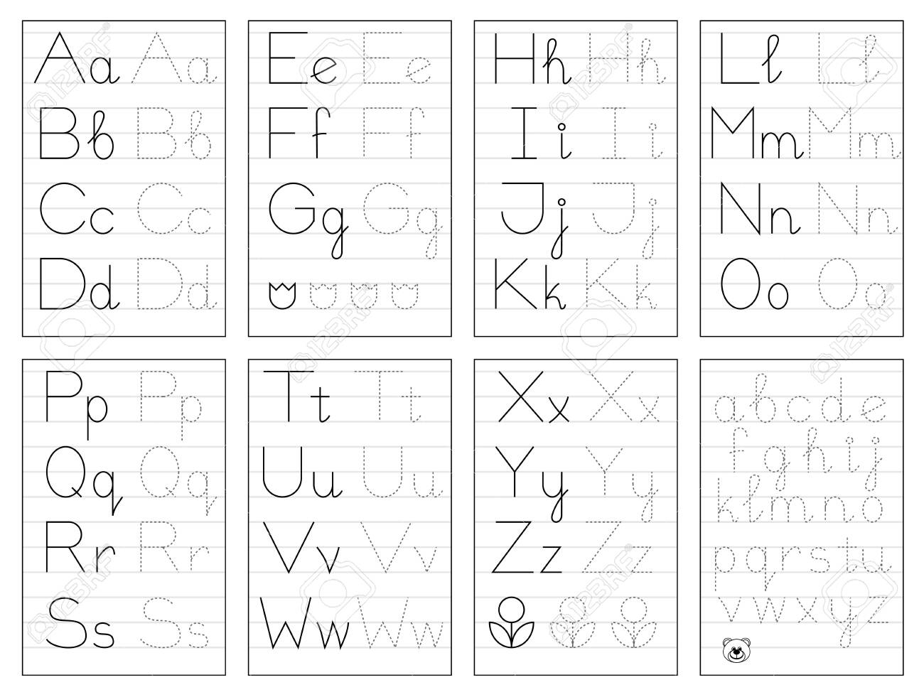 Set Of Black And White Educational Pages On Line For Kids. Trace.. intended for Tracing Alphabet Letters