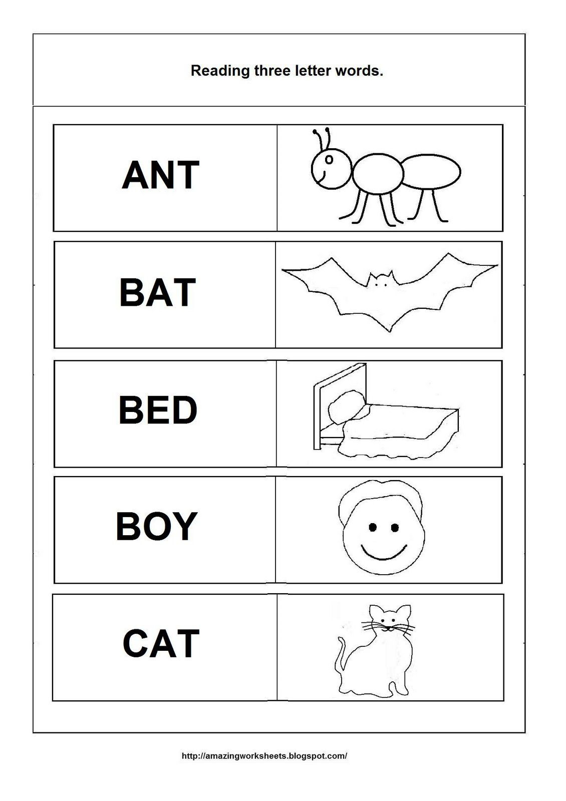 Simple Words - Worksheet | Three Letter Words, 3 Letter with Tracing 3 Letter Words Worksheets