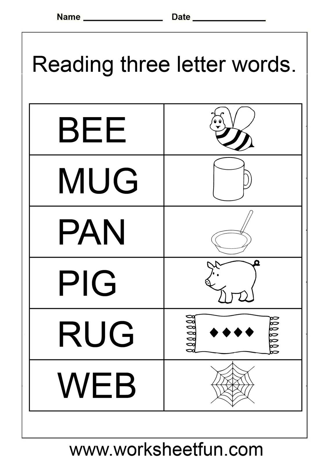 Simple Words - Worksheet | Three Letter Words, Printable for Tracing Letters Words Worksheets