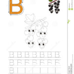 Trace Game For Letter. Stock Vector. Illustration Of regarding Trace Letter B Worksheets Preschool